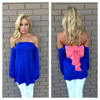 Royal Blue & Pink Bow Back Off Shoulfer Top