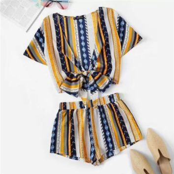 SHEIN Geometric Print Bow Knot Deep V Neck Crop Top And Shorts Women Two Piece Outfits Summer Boho Casual Short Sets For Women
