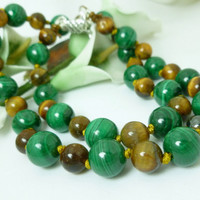 Green Malachite and Golden Tiger Eye Round Gemstone Beaded Necklace