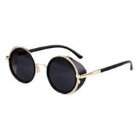 Brand new Mirror Lens Round Glasses Cyber Goggles Steampunk Sunglasses Vintage Retro For men