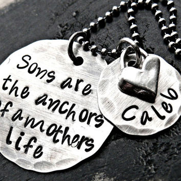 Hand Stamped Necklace - Sterling Silver Jewelry - Personalized Necklace - Mother and Son Jewelry
