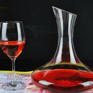 1PC Longming Home 1500ml Unique Tumbler Glass Wine Decanter Carafe Water Jug Wine Container Dispenser Glass Decanter JS 1100