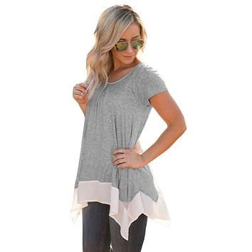 Gray Asymmetric Chiffon Hem T-shirt Top