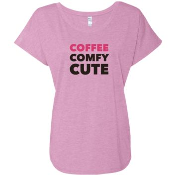 Coffee Comfy Cute Ladies' Triblend Dolman Sleeve