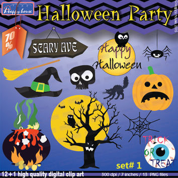 HALLOWEEN Digital Clipart, Halloween Clip Art Pack Decorations, Halloween Printable,Halloween party,Halloween kids,Party Supplies