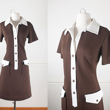 1960s Mod Sheath Dress / Vintage Brown Dress / Vintage 60s Mod Shift Dress / Mid Century Modern Day Dress / Retro Button Front Shirt Dress