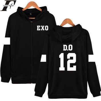 LUCKYFRIDAYF EXO Hoodies Women Hip Hop With Zipper EXO Kpop Black Long Sleeve Womens Winter Jackets And Coats Plus Size
