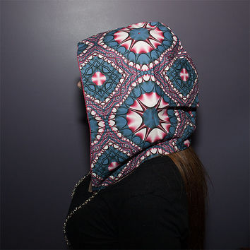 Psychedelic Reversible Festival Hood with Interchangeable Chain
