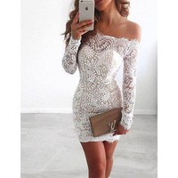 DCCK8H2 Off Shoulder Long Sleeve Lace Tight Homecoming Dresses