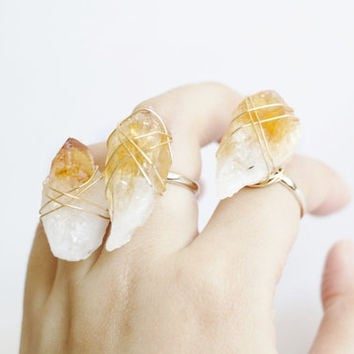 Raw crystal ring, Citrine Amethyst raw crystal gold ring, simple, natural, gemstone ring, statement ring, BOHO chic OOAK simple crystal ring