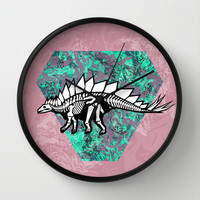 Stegosaur Fossil Wall Clock by chobopop | Society6