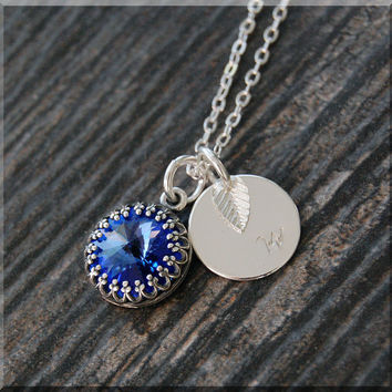 Sapphire Birthstone Necklace, Silver Initial Charm Necklace, Personalized Birthstone Necklace, September Birthstone Charm. Swarovski