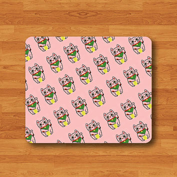 Pink LUCKY CAT Kawaii Cartoon Mouse Pad Love Japanese Rubber Backing MousePad Computer Desk Decoration Gift Sweet Gift For Girlfriend Meaw!!