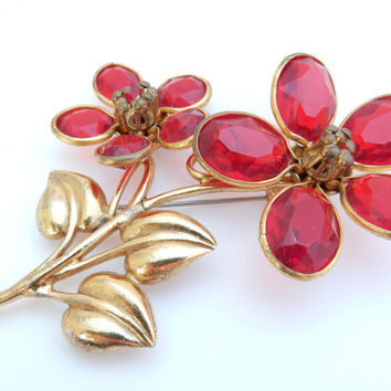 Red Crystal, Flower Brooch, 1960s Jewelry, Large Figural, Floral Pin, Bridal Bouquet, Something Old, Mid Century