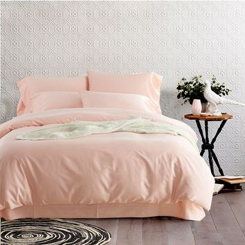 5/6pcs Pink Bedding Sets Solid Color Egyptian Cotton Duvet Cover Pillowcases Cover Bed Sheet Queen King Size For Girls