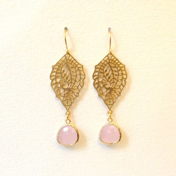 Rose Quartz Earrings Pastel Pink Earrings Paisley Filigree Drop Earrings Pale Pink Coloured Glass, Gold Bezel Set Dangle Earrings Chandelier