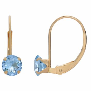 5MM Round Natural Blue Aquamarine 10K Yellow Gold Leverback Earrings