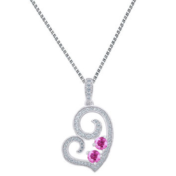 Women Heart Pendant Purple 2 Solitaire Cubic Zircon 925 Silver Forever Us Chain
