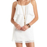 Crochet & Chiffon Flounce Shift Dress by Charlotte Russe