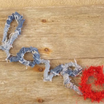 Love Sign Wire with Blue Jean Denim Distressed Frayed Furry Red Heart Wall Hanging Shelf Sitting Valentines Decoration