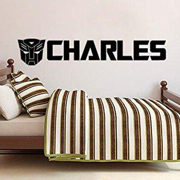 Inspired by Transformers Vinyl Wall Decal Sticker Personalized Custom Name