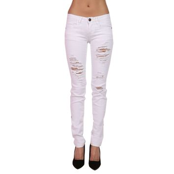 Destroyed Skinny Jeans, White