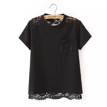 Summer Stylish Women's Fashion Hollow Out Lace Mosaic Round-neck Sexy T-shirts [6513836679]