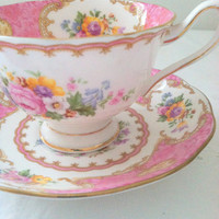 Downton Abbey Inspired Vintage Royal Albert English Lady Carlyle Bone China Avon Shape Tea Cup and Saucer Elegant Tea Party - Ca. 1950's