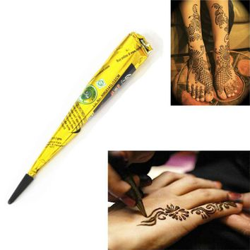 Beauty Women Mehndi Finger Paint Body Cream DIY Temporary Drawing for Tattoo Stencil 1 Piece