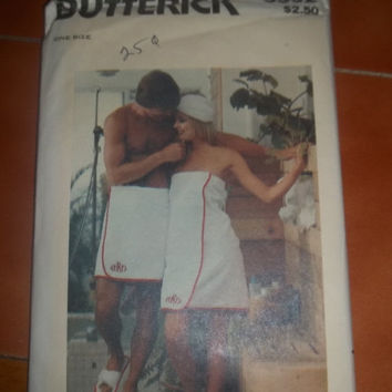 SALE UnCut Butterick Sewing Pattern, 3532! Vintage, Bath Towels, One Size, Towel Cover Up, Turban, Slippers, Sole, Buckram.