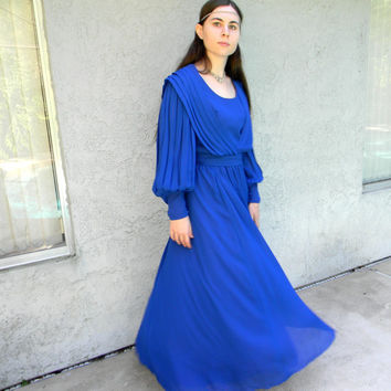 Blue Danube - Vintage 70s/80s GREEK GODDESS Chiffon Ballroom Gown/Prom Dress w Draped Bodice/Poet Sleeves - Deep Blue Maxi Dress Size 7/8