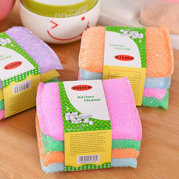 Kitchen nonstick oil scouring pad oil cleaning cloth washing cloth to wash cloth towel brush bowl cloth sponge 4 pcs