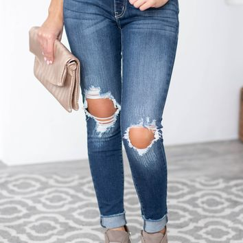 Knee Distressed Five Pocket Jeans