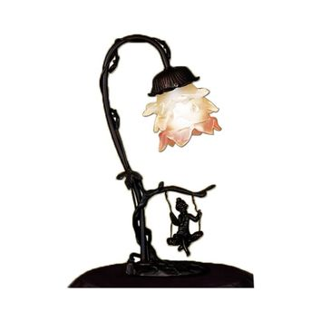 "Meyda 14""H Cherub On Swing Accent Lamp"