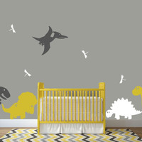 Dinosaur Wall Decals for Nursery with Dragonfiles and 6 Dinosaurs