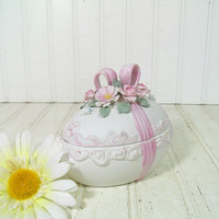 Vintage Ceramic Egg 2 Piece Covered Dish - Hand Painted Lefton China Bisque White Finish with Pink Ribbons and Roses Applied Ceramic Flowers