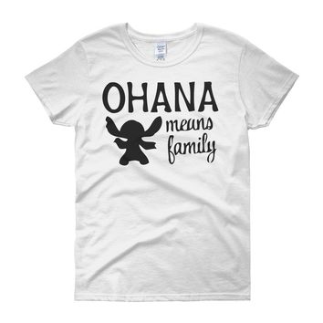 Ohana Means Family Lilo And Stitch Funny Emoji Women'S T Shirt