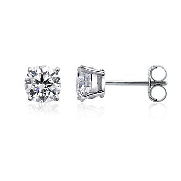 14k White Gold Round Diamond Stud Earrings (0.10 cttw H-I Color, VS2 Clarity)