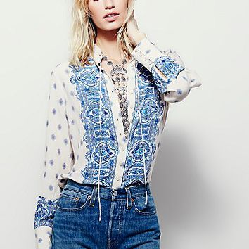 Free People Wishing Well Border Print Buttondown