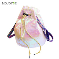 Fasion Drawstring Laser Women Bag Candy Color Special Fabric Paper Bling Bucket Bag Luxury Handbags Women Bags Designer Bolsa ELY