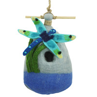 Wool Felted BIG DRAGONFLY Birdhouse, decorative bird houses, fair trade gifts | Toad Hollow