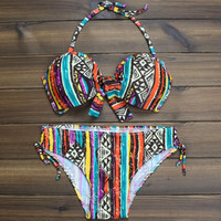 Women's Vintage Halter Ethnic Boho Push up Bikini Swimsuits