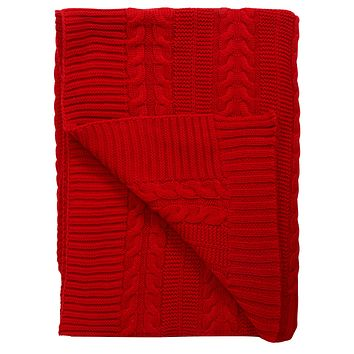 "Cable Knit GOTS Certified Organic Cotton Oversized Throw Blanket, 50""X70"", Red"