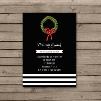 Christmas Wreath Holiday Brunch Invitations in Black