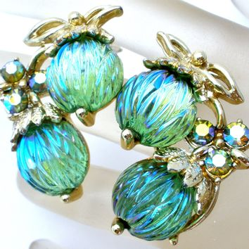 Vintage Green Rhinestone Earrings Signed Art