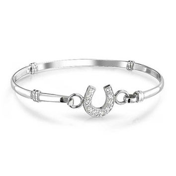 Bling Jewelry Pave CZ Horseshoe Bangle 925 Sterling Silver Equestrian Bracelet