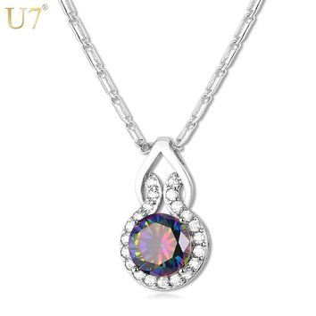 U7 Luxury Big Crystal Necklace For Women Fashion Party  Jewelry Gift Silver/Gold Color Cubic Zirconia Round Pendant & Chain P692