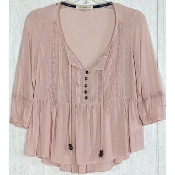 Rewind Peasant Babydoll Top Blush Pink Bead Tie Lace Button Boho Flowy Blouse XS