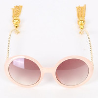 Pink Bead Fringe Chain Arms Round Sunglasses