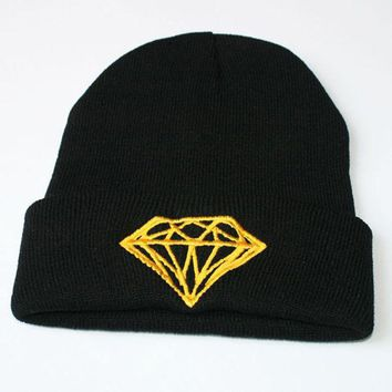 ac spbest Diamond Beanie Knitted Winter Warm Black & Gold Cuffed Skully Hat
